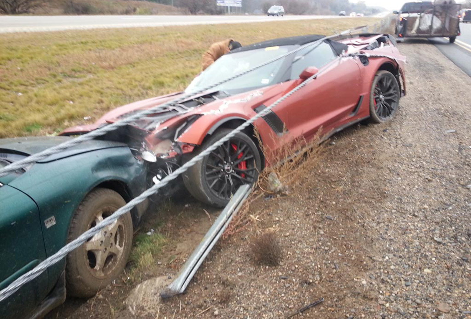 First 2015 Chevy Corvette Z06 Convertible Crashed