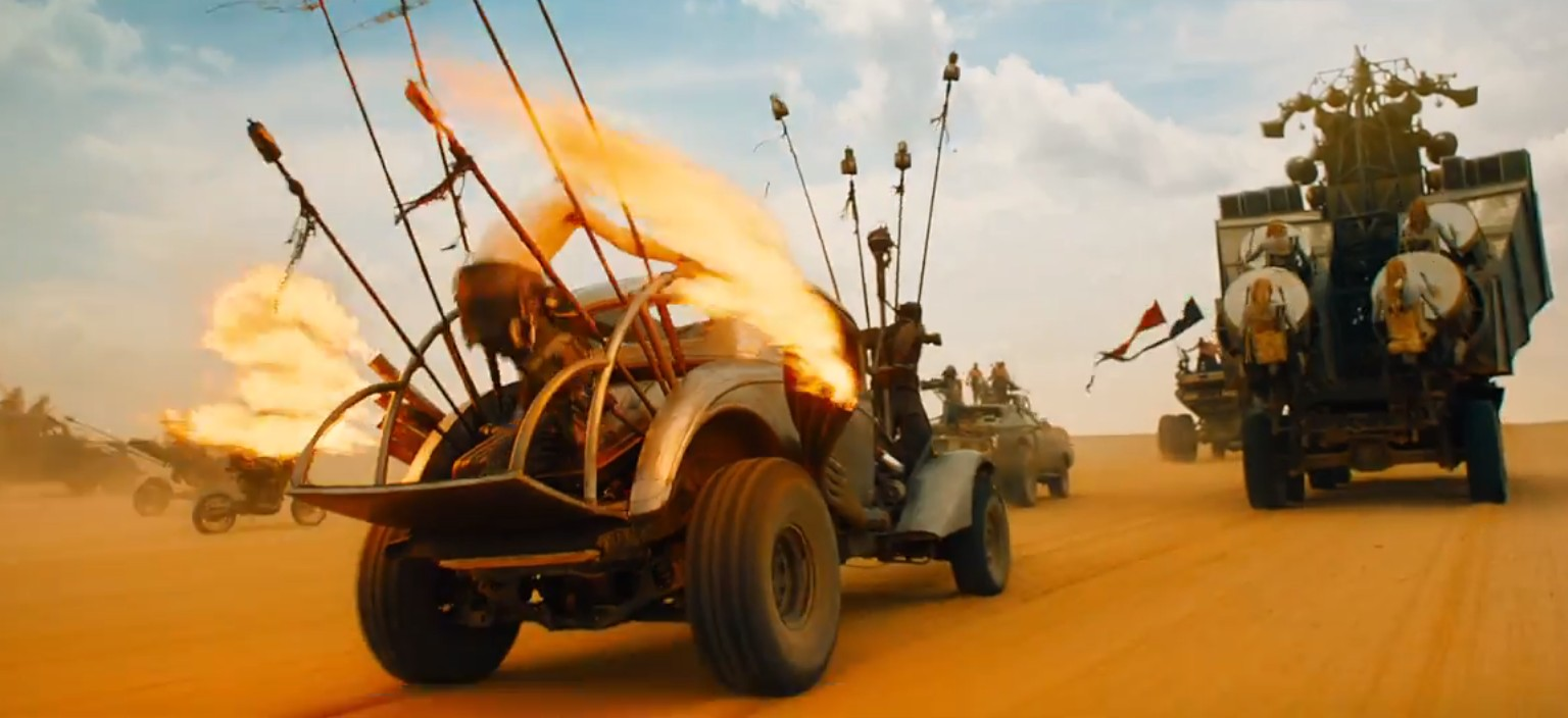 new 39 mad max fury road 39 trailer is dystopian vehicular action awesomeness. Black Bedroom Furniture Sets. Home Design Ideas