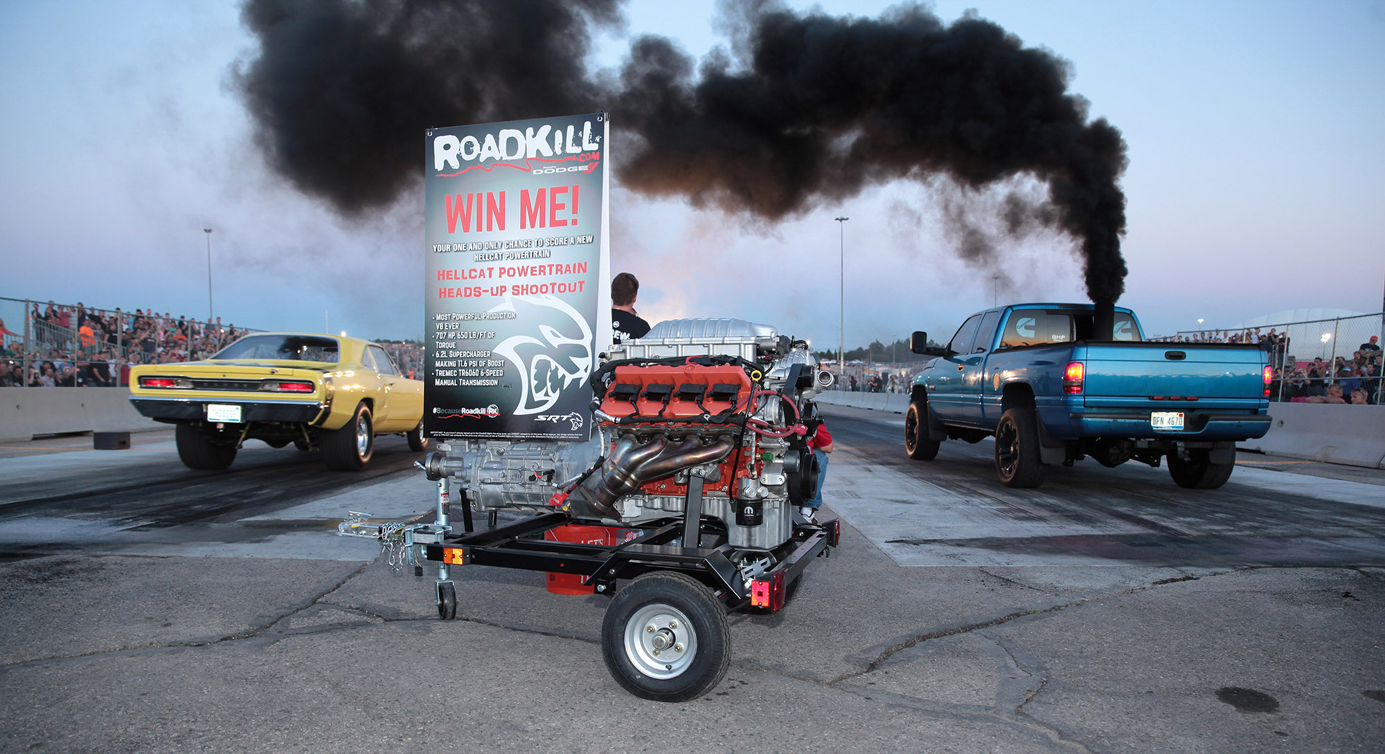 Dodge Fan Wins Hellcat Engine At Roadkill Nights Drag