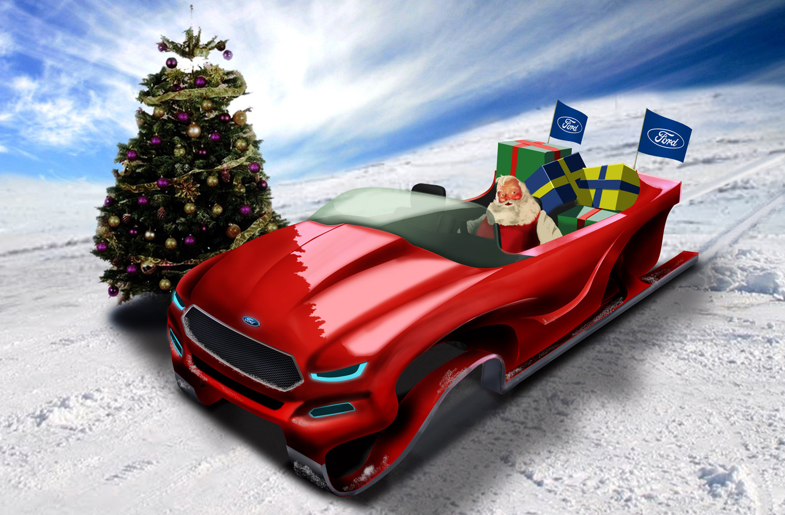 santa-claus-in-his-ford-evos-inspired-concept-sleigh ...