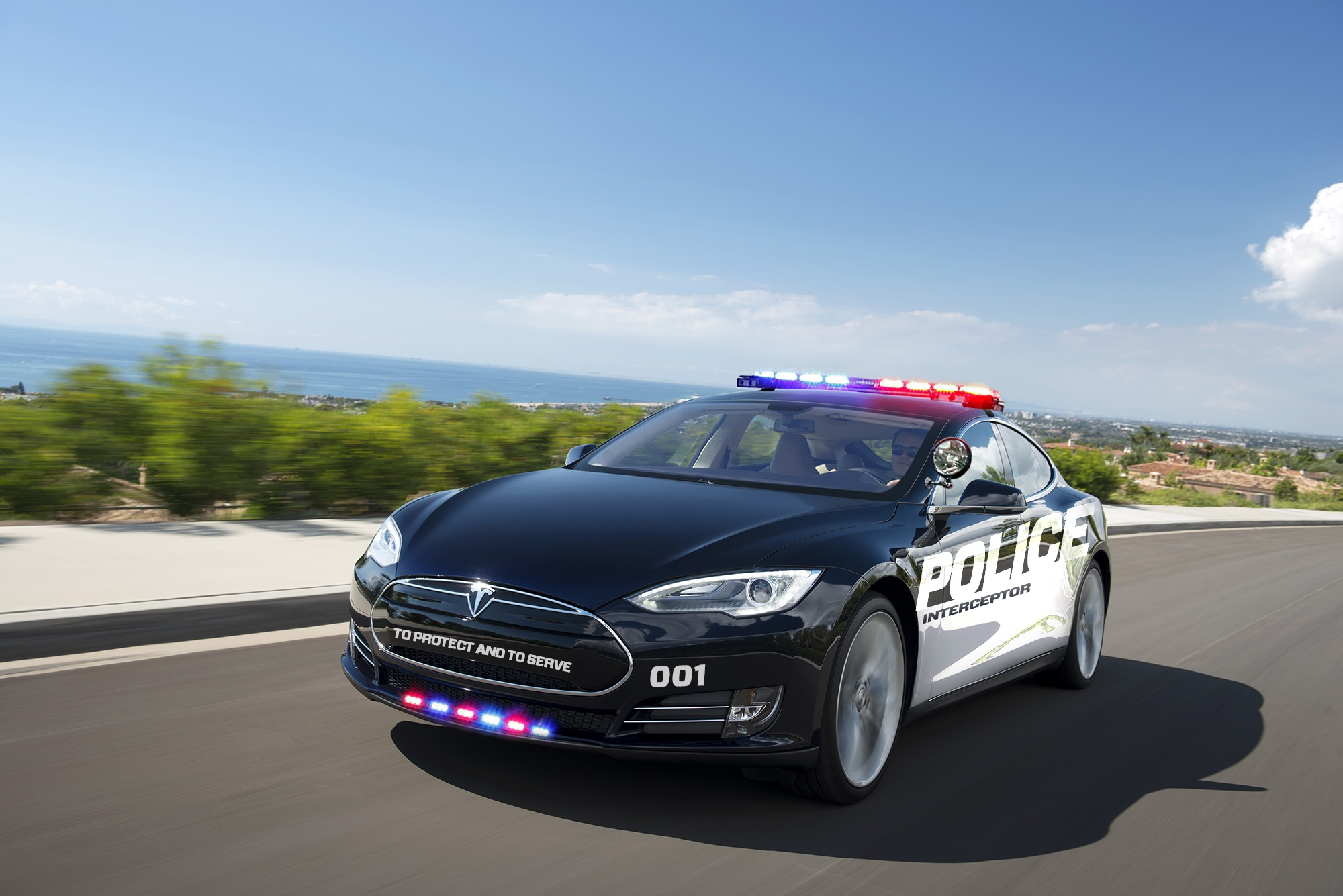 Simulation Of Tesla Model S As A Police Cruiser 100445250