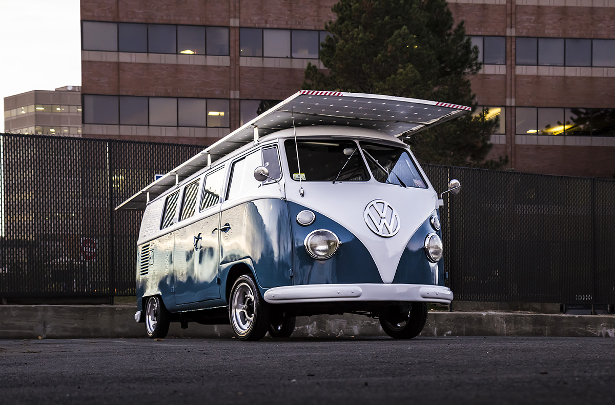 Classic 1966 Vw Bus With Green Drivetrain Solar Powered