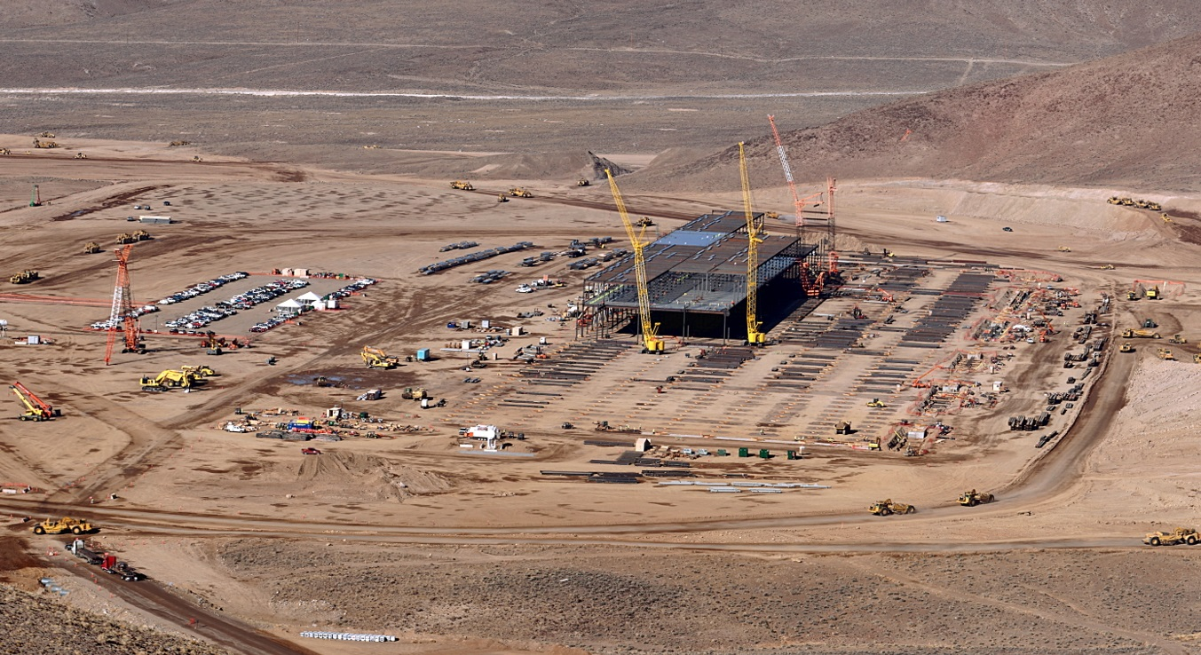 Tesla gigafactory for electric car batteries site work continues