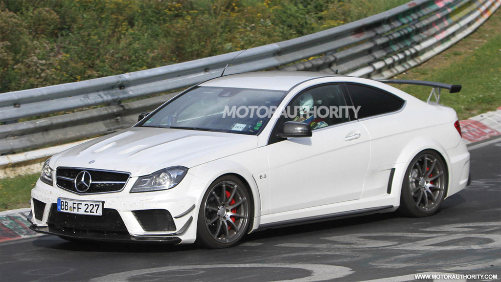 mercedes benz c63 amg coupe black series spied with track and aero packages