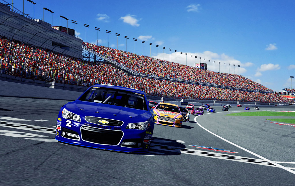 ... Chevrolet SS and Ford Fusion NASCAR race cars on iRacing simulator