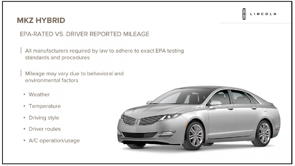 2013 lincoln mkz hybrid underscores 39 your mileage may vary 39. Black Bedroom Furniture Sets. Home Design Ideas