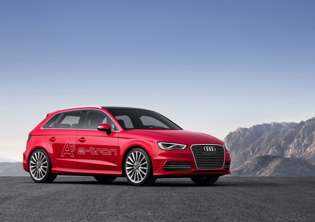 audi previewing production a3 e tron plug in hybrid at geneva show. Black Bedroom Furniture Sets. Home Design Ideas