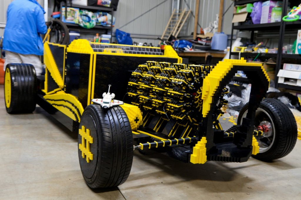 crowdfunded full size lego hot rod runs on air video