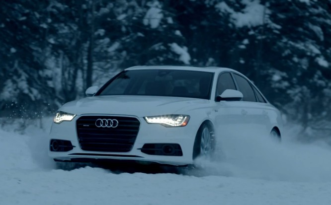 Image: Audi's A6 quattro plays in the snow., size: 666 x ...