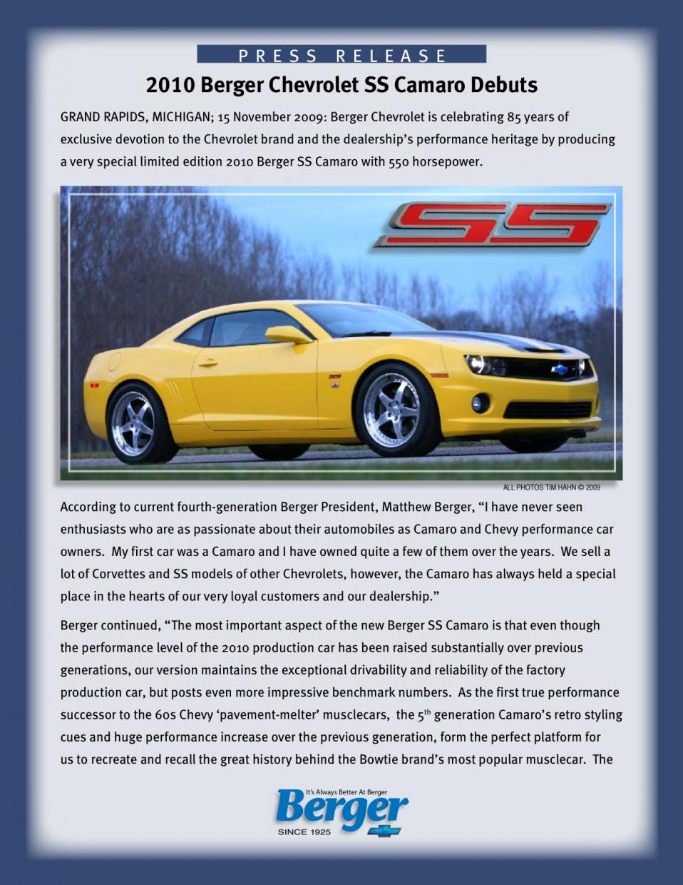 2010 Berger Chevrolet Ss Camaro Official Release