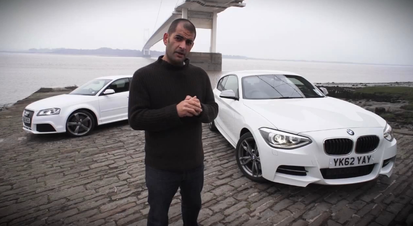Chris Harris with BMW's M135i and Audi's RS3