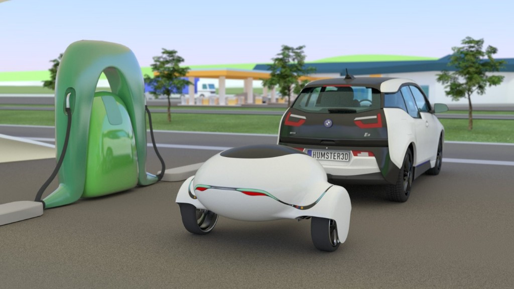 ebuggy electric car trailer boosts range by 300 looks a bit silly