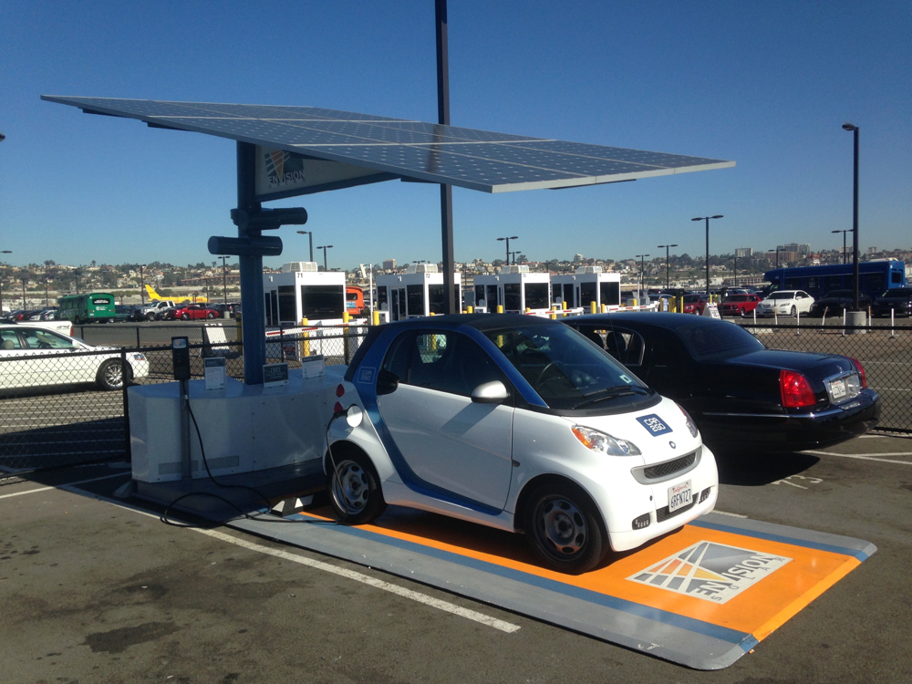 Self Contained Solar Carport With Battery Electric Car