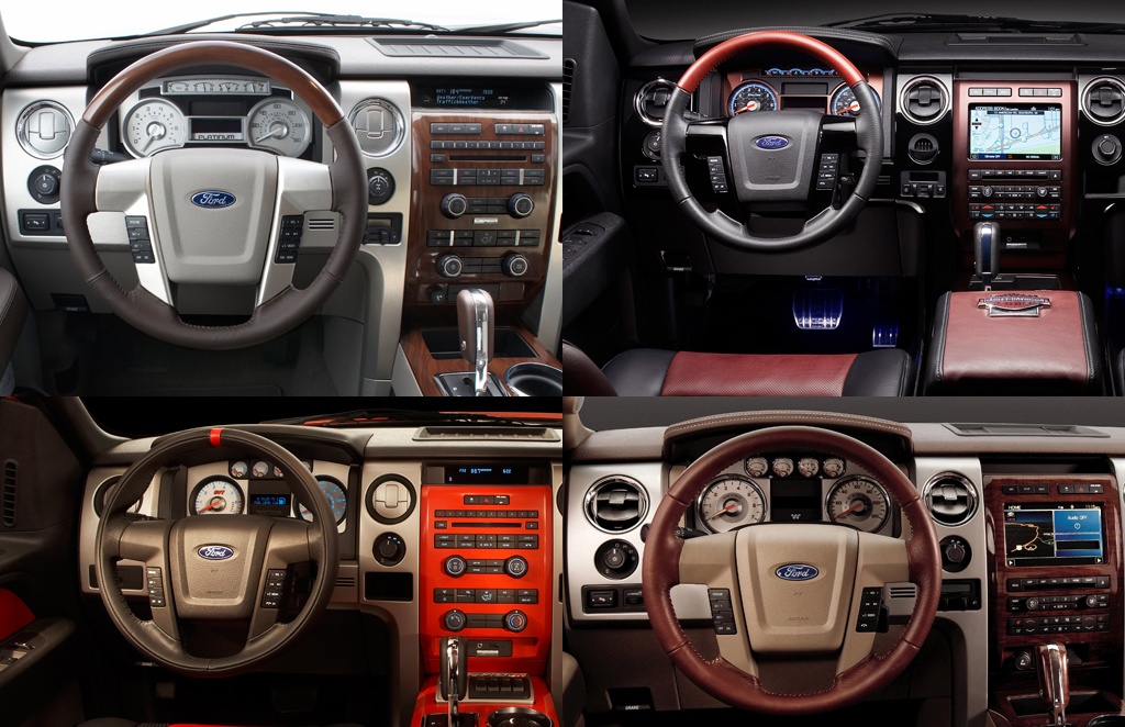 Ford F-150 Platinum, Harley-Davidson, Raptor, and King Ranch interiors