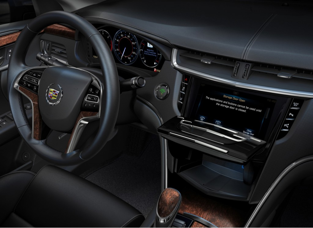 2013 cadillac xts interior teased with cue touch screen interface. Black Bedroom Furniture Sets. Home Design Ideas