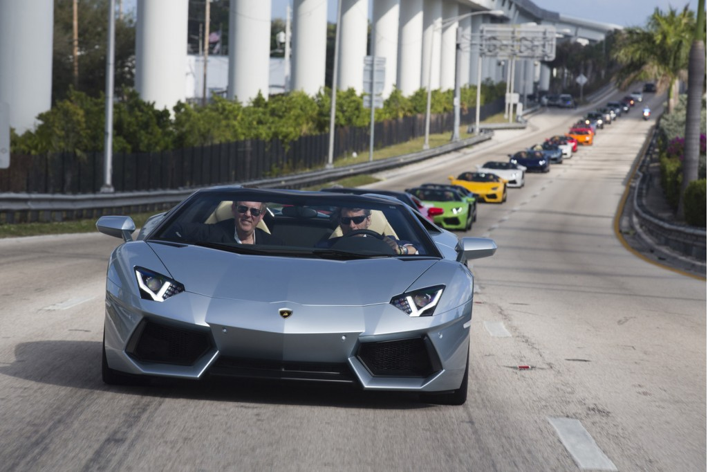 Lamborghini Aventador Roadsters Take To Miami Airport