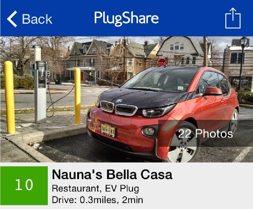 PlugShare App Showing Electric-Car Charging Sites: Trip ...