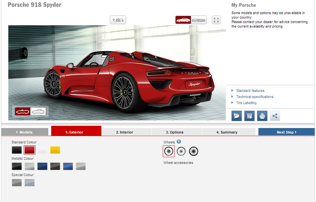 build your dream porsche 918 spyder with official configurator. Black Bedroom Furniture Sets. Home Design Ideas
