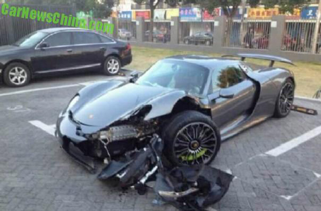 porsche 918 spyder crashes in china driver may have been owner s friend. Black Bedroom Furniture Sets. Home Design Ideas