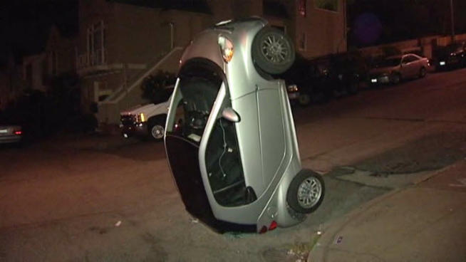 Image: Smart ForTwo tipped over in San Francisco. Photo by ...