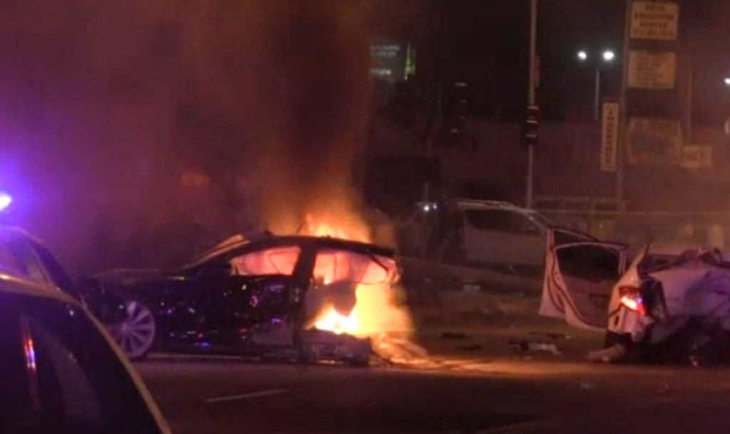 Stolen Tesla Police Chase Ends In Massive Fiery Wreck