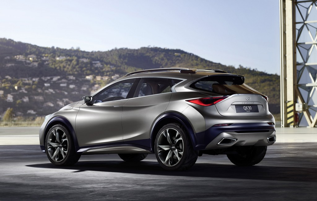 infiniti qx30 concept small luxury suv previews 2016 model at geneva show. Black Bedroom Furniture Sets. Home Design Ideas