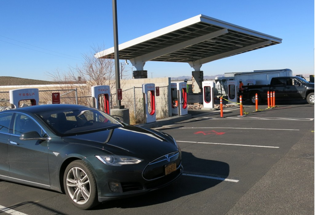 Image Solar Panels At Supercharger In Barstow Ca During