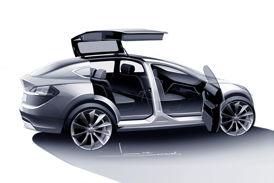 tesla model x unveiled electric luxury crossover with wings. Black Bedroom Furniture Sets. Home Design Ideas