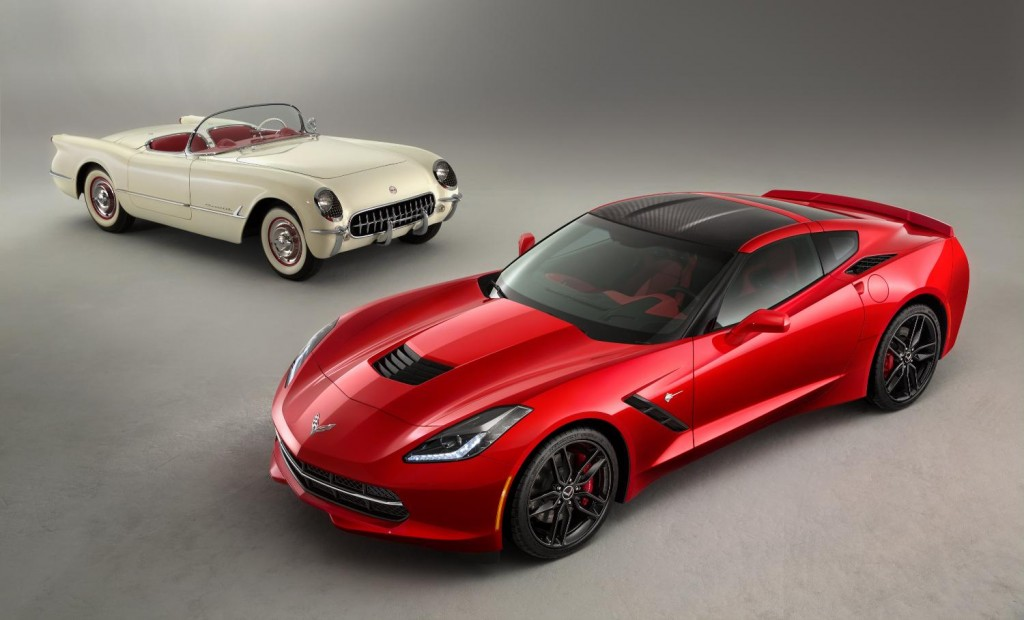 the 2014 corvette stingray poses with the 1953 corvette image gm. Cars Review. Best American Auto & Cars Review