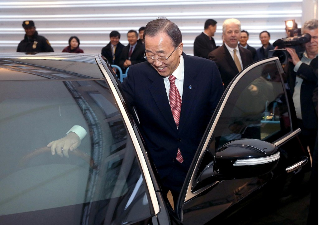 photo of Ban Ki-moon  - car