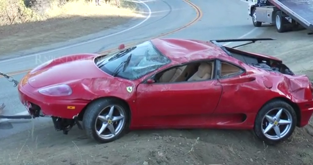 ferrari 360 modena crashes down steep malibu embankment video. Black Bedroom Furniture Sets. Home Design Ideas