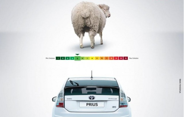 2010 Toyota Prius ad comparing its emissions to those of a sheep (cropped)