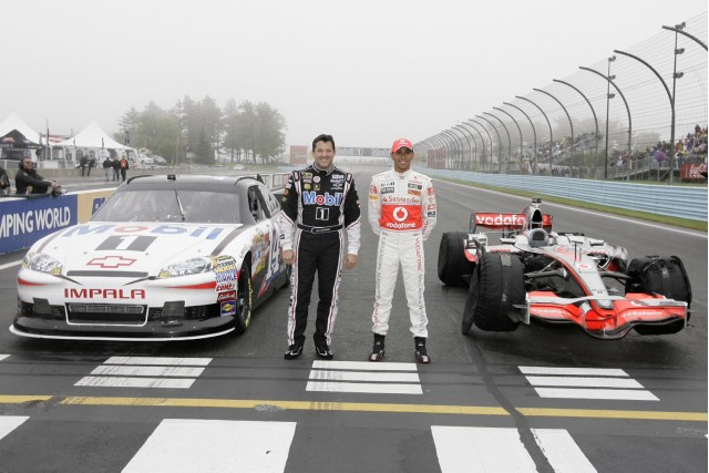 Tony Stewart and Lewis Hamilton swap cars at Watkins Glen, 2011 #9207945