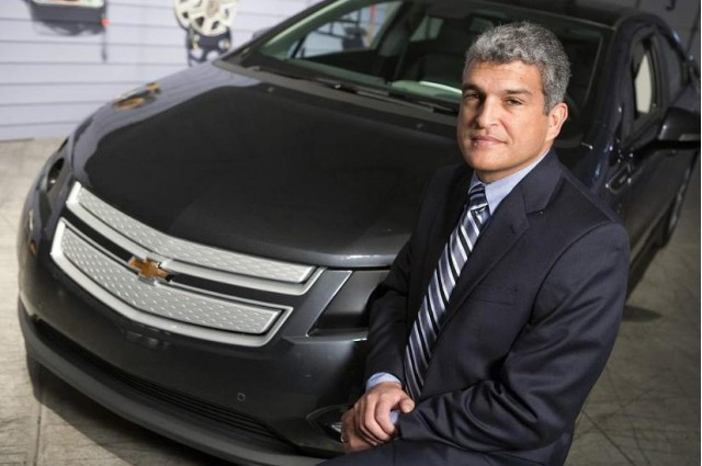 Micky Bly of General Motors with 2011 Chevrolet Volt development prototype vehicle #9705002
