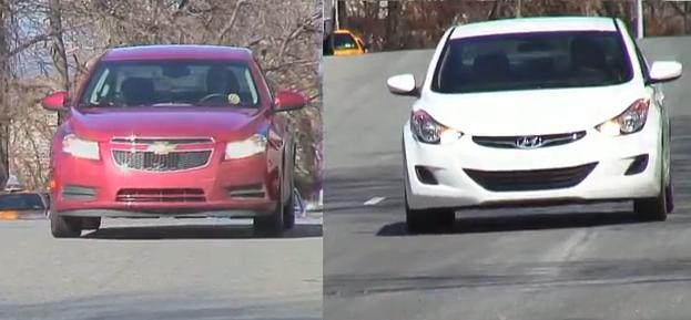 2011 Chevy Cruze Eco and 2011 Hyundai Elantra during road tests (video ...