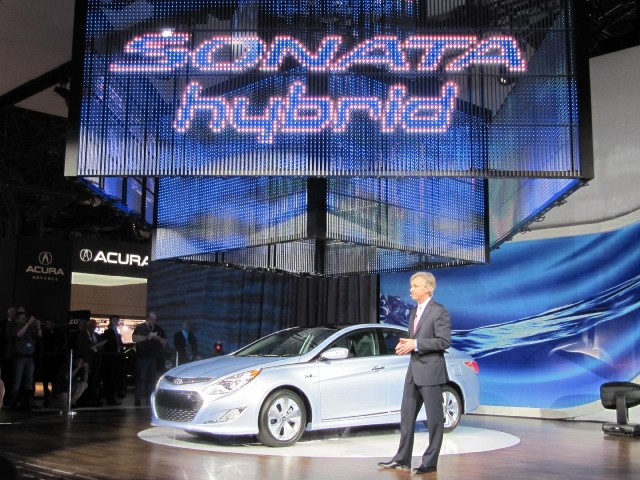 2011 Hyundai Sonata Hybrid at 2010 New York Auto Show at CEO John Krafcik #8009187