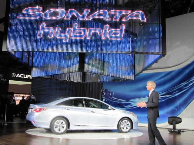 2011 Hyundai Sonata Hybrid at 2010 New York Auto Show with CEO John Krafcik #7191248