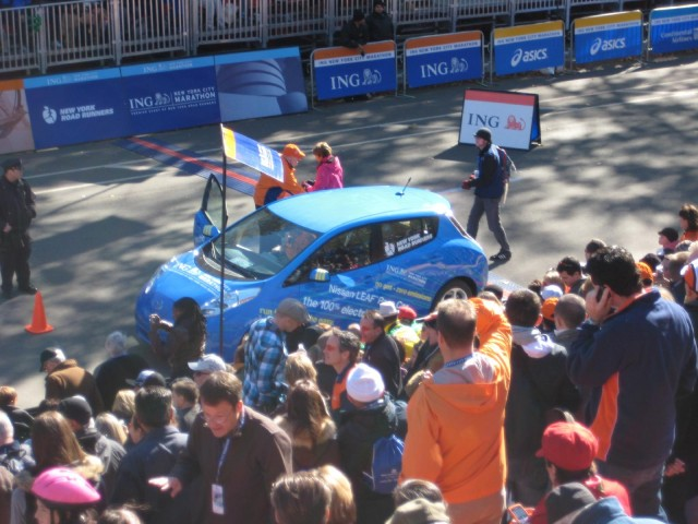 2011 Nissan Leaf electric car at NYC Marathon, Oct 2010 #7126046