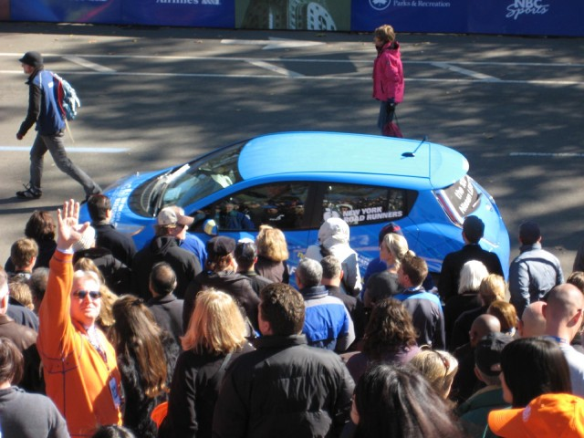 2011 Nissan Leaf electric car at NYC Marathon, Oct 2010 #9422939