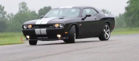 2012 Challenger SRT8 sideways in B-roll footage