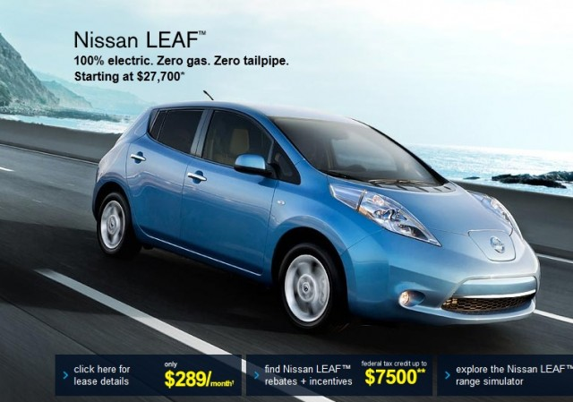 2012 nissan leaf electric car net pricing shown on nissan website. Black Bedroom Furniture Sets. Home Design Ideas
