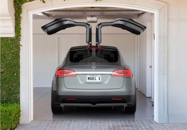 2014 Tesla Model X all-electric crossover with 'Falcon Doors' open