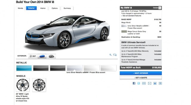 2014 Bmw I8 Configurator Live Spec Your Own Plug In