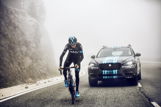 2017 Jaguar F-Pace prototype as Team Sky support vehicle for Tour de France rider Chris Froome