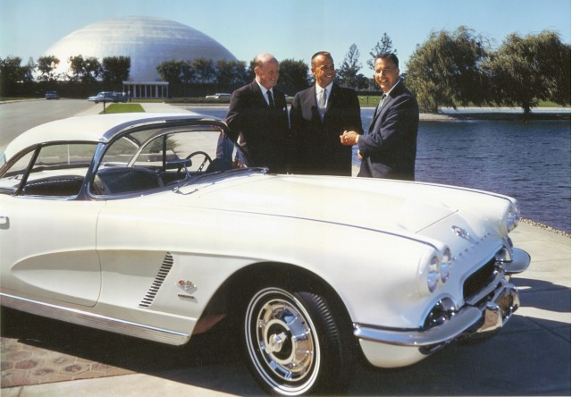 Alan B. Shepard (center) with GM Styling President William L. Mitchell (left) and Chevrolet General Manager Edward N. Cole (right) with Shepard's 1962 Corvette.