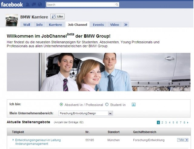 BMW's Job Channel on Facebook