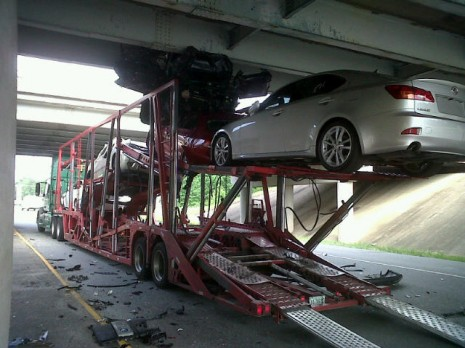 Car Transporter Meets Bridge Cars Lose