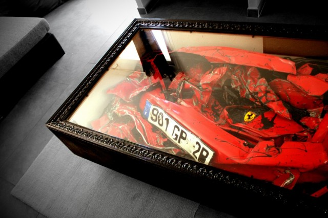 Ferrari coffee table redefines 39 recycled art 39 for Car part coffee table