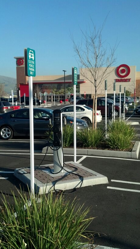 Electric-car charging stations at Target in Fremont, CA [photo