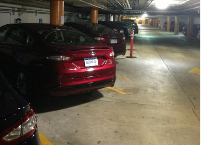 Ford Fusion Energi plug-in hybrids charging in San Francisco garage [photo: Robert Olson]